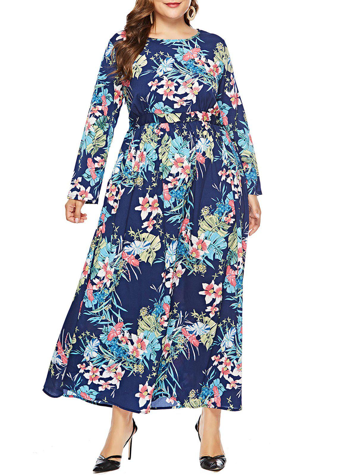 Discount Plus Size Leaf Print Maxi Dress