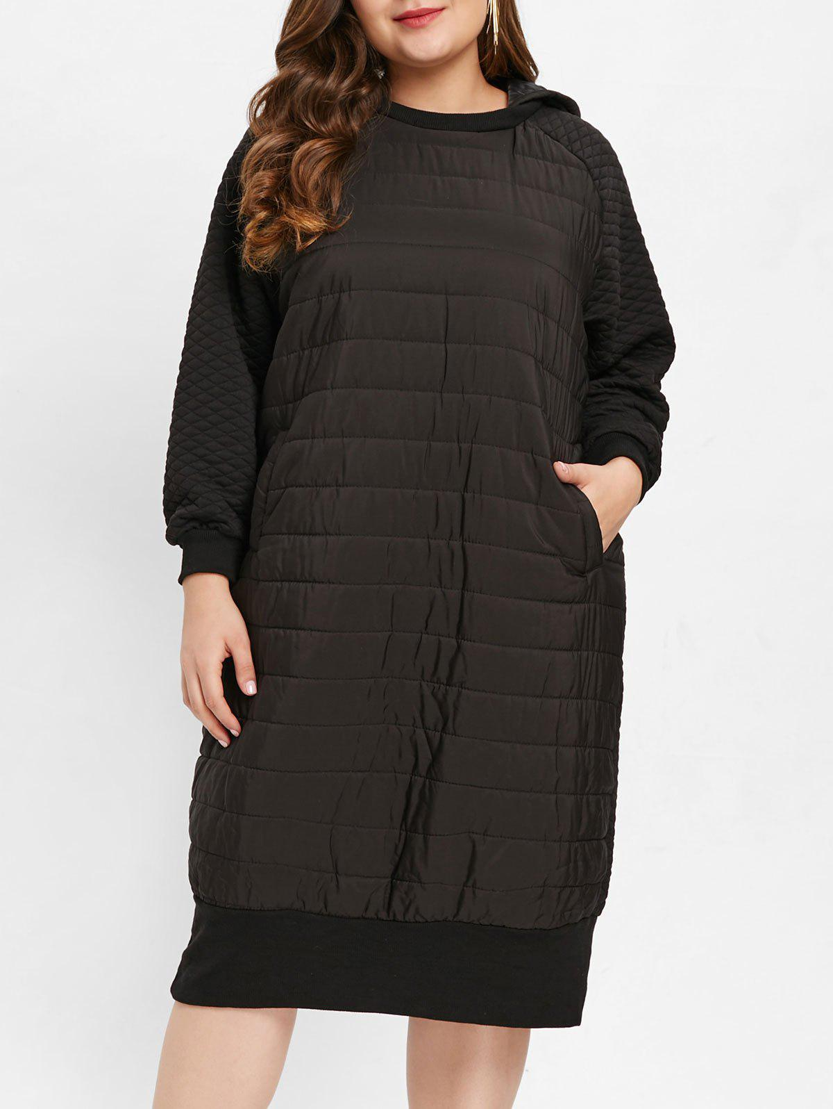 Affordable Hooded Plus Size Quilted Longline Dress
