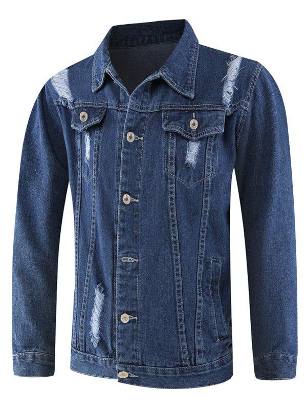 Affordable Casual Pockets Ripped Denim Jacket
