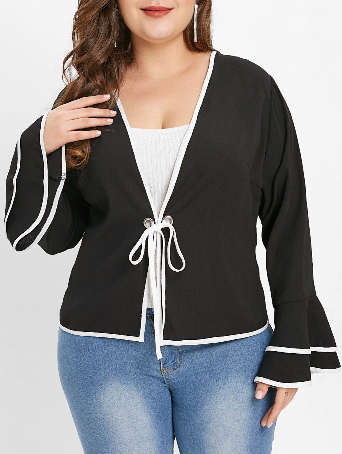 Sale Plus Size Bell Sleeve Contrast Trim Jacket