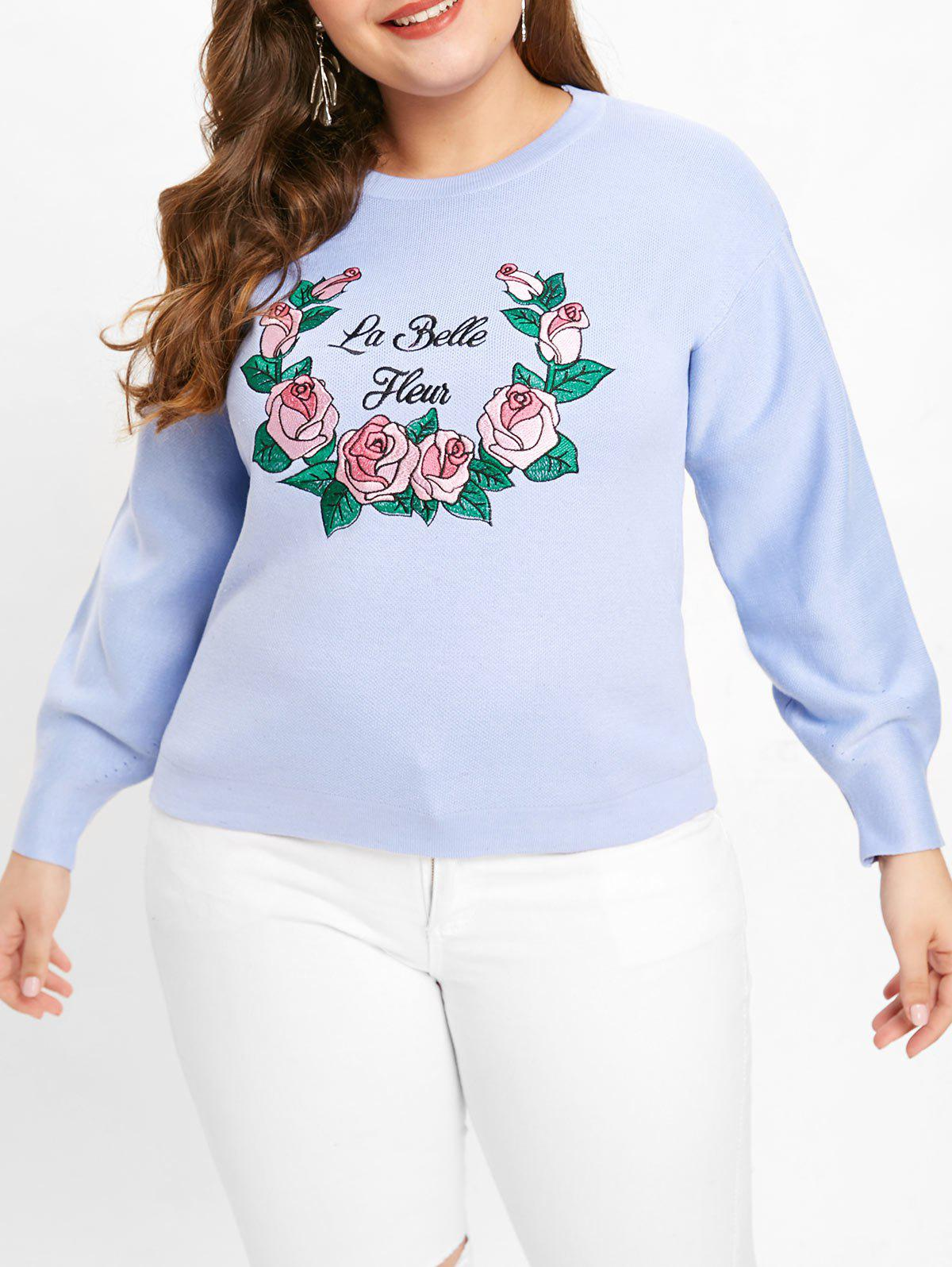 Latest Plus Size Letter Floral Patch Sweater