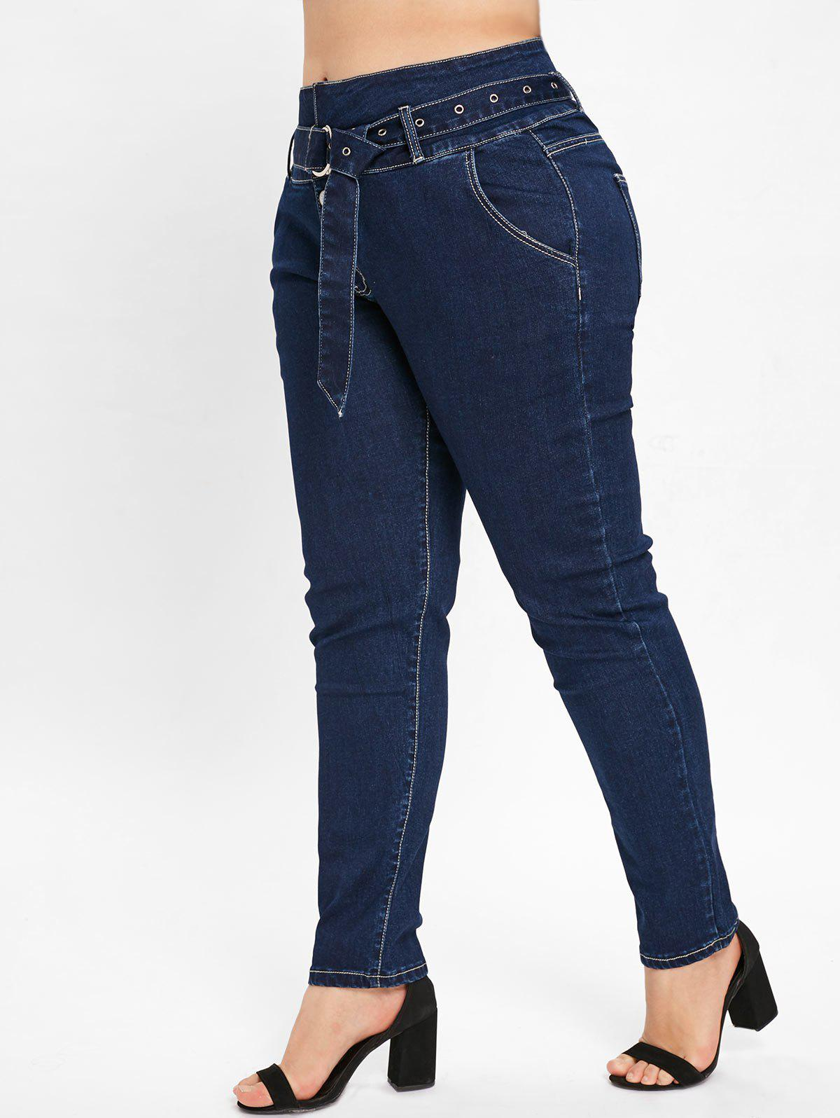 Unique Plus Size Four Button Jeans