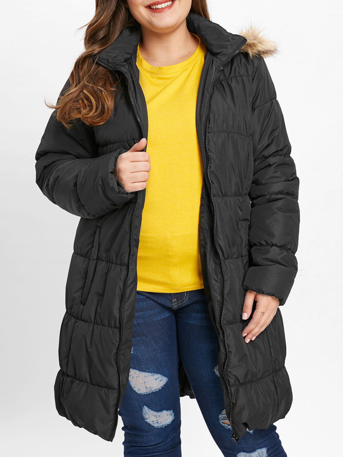 Chic Hooded Plus Size Puffer Coat