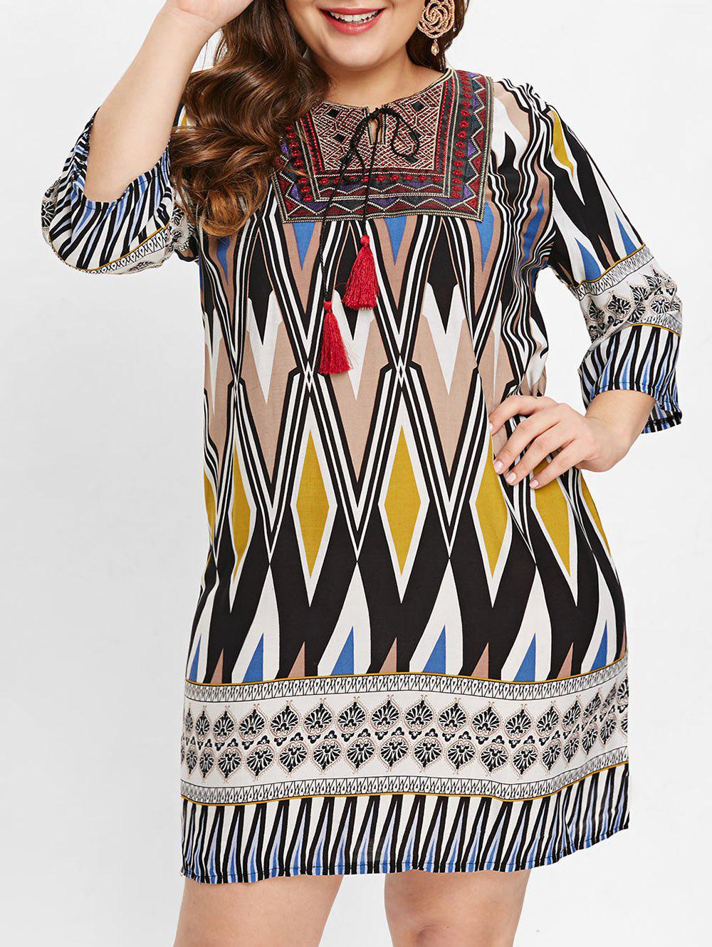 Shops Plus Size Ethnic Pattern Casual Dress