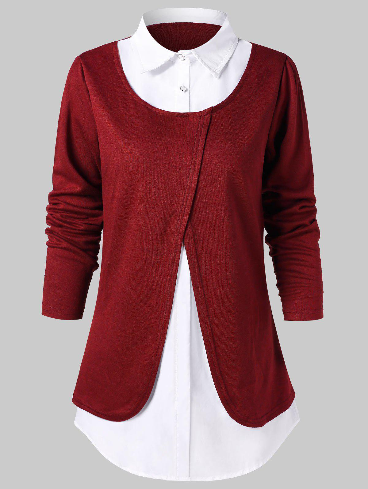 Color Block Faux Twinset Blouse, Red wine