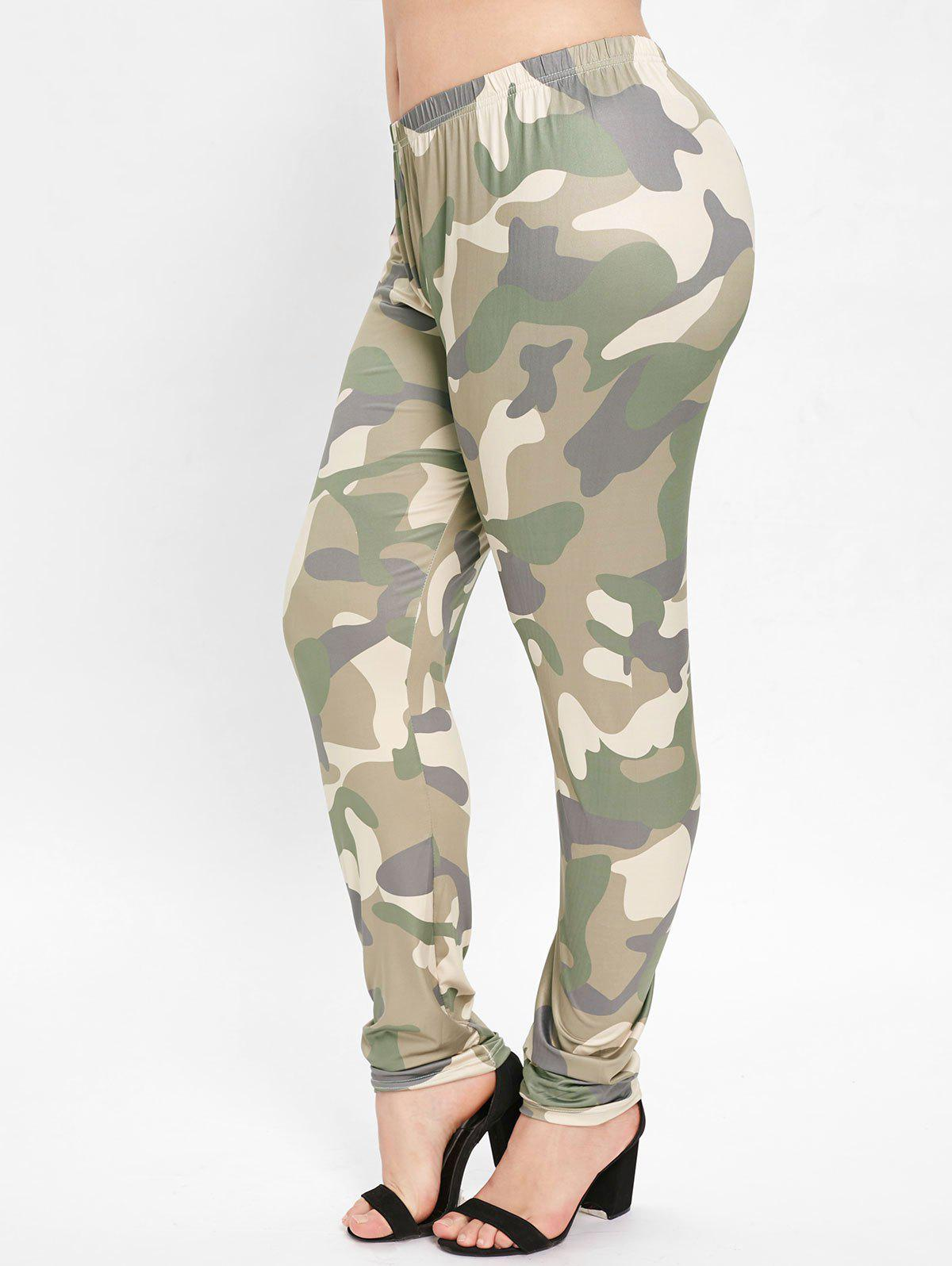 Outfits Camouflage Plus Size Elastic Waist Leggings