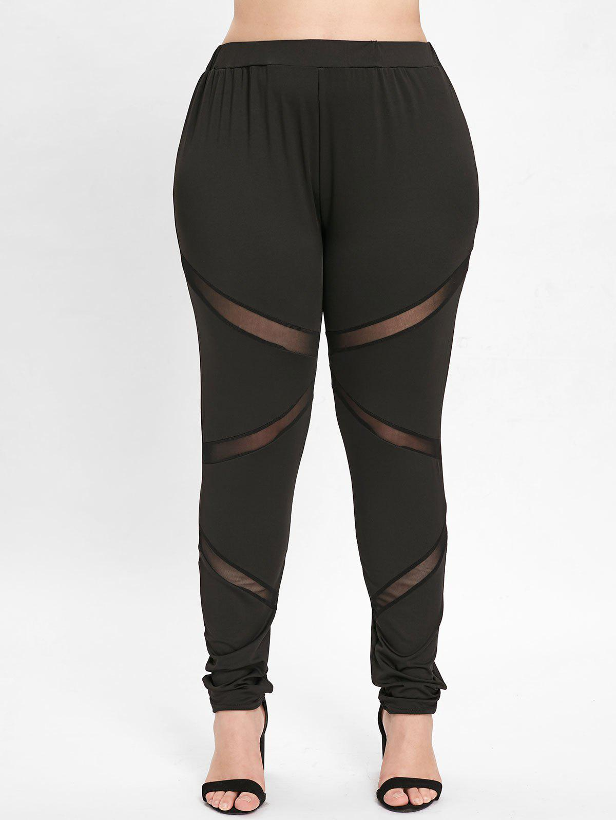 Buy Elastic Waist Plus Size Mesh Panel Leggings