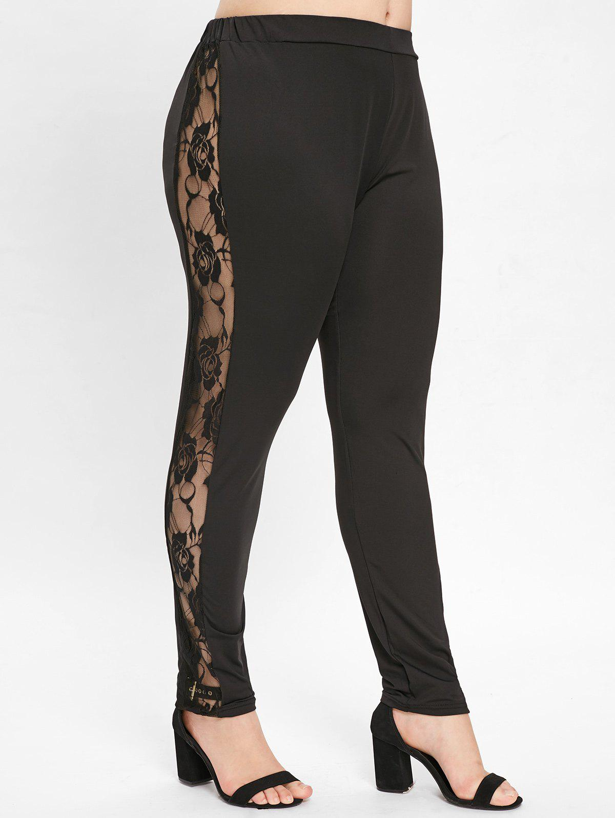 New Plus Size Side Lace Panel Leggings