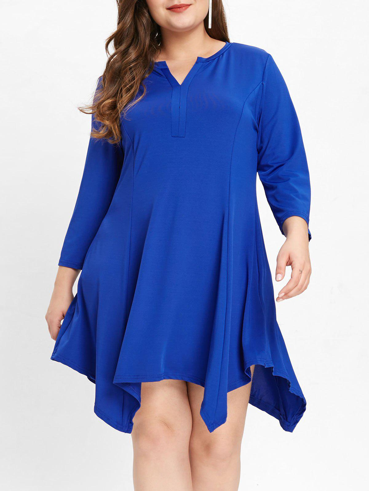 Trendy V Neck Plus Size Asymmetrical Shift Dress