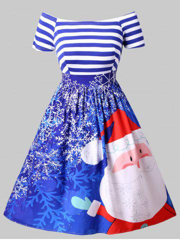 Plus Size Printed Off Shoulder Christmas Dress - BLUE - L