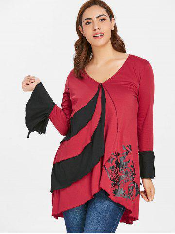 Plus Size Bell Sleeve Overlap T-shirt