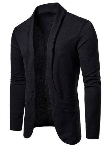 Creative Pocket Casual Open Front Cardigan