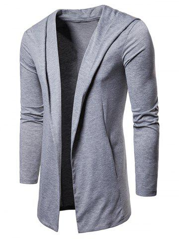 Solid Color Casual Hooded Cardigan