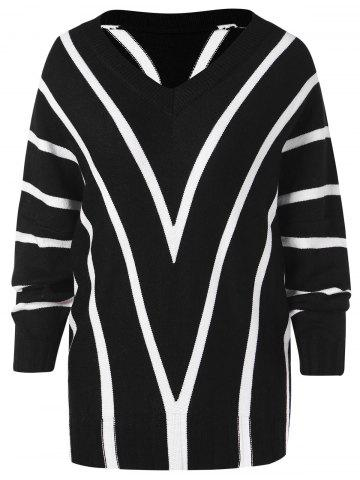 Chevron Striped Tunic Sweater
