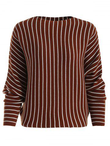 Striped Ribbed Knit Dolman Sweater