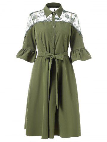Flare Sleeve Lace Panel Belted Dress