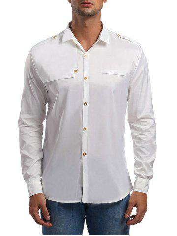 Epaulet Design Long Sleeve Shirt