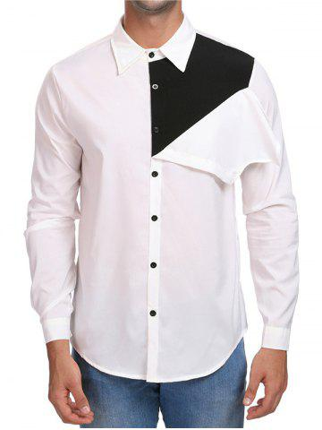 Contrast Color Button Up Casual Shirt