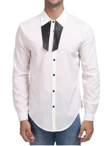 Contrast Color Turn Down Collar Shirt