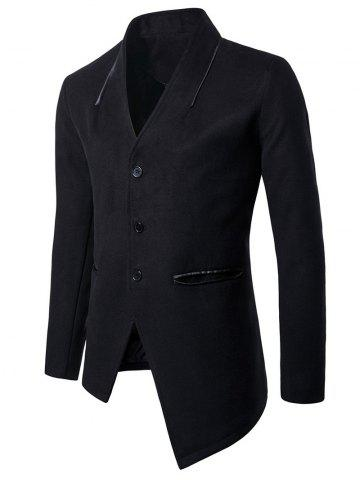 Asymmetric Single Breasted Woolen Coat