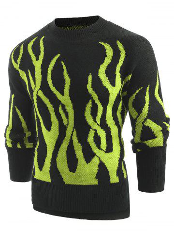 Plant Print Long Sleeve Pullover Sweater