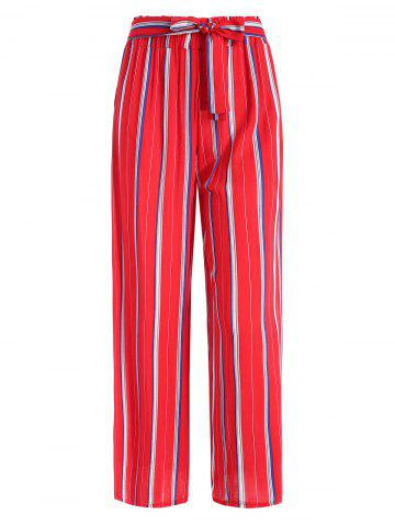 Side Pocket Striped High Waisted Wide Leg Pants