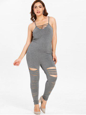 Plus Size Ripped Cami Jumpsuit with Lattice
