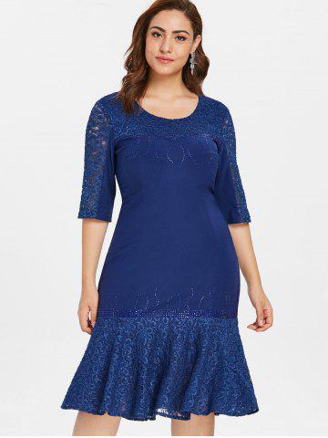 Lace Panel Plus Size Rhinestone Embellished Knee Length Dress