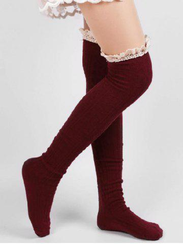 2baf9fba7 QUICK SHOP Cute Solid Color Lace Thigh Stockings