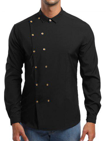 Double Breasted Turn Down Collar Shirt
