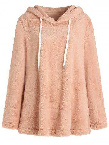 Drawstring Pullover Fuzzy Hoodie