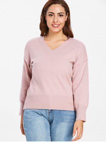 Plus Size  V Neck Ribbed Detail Sweater