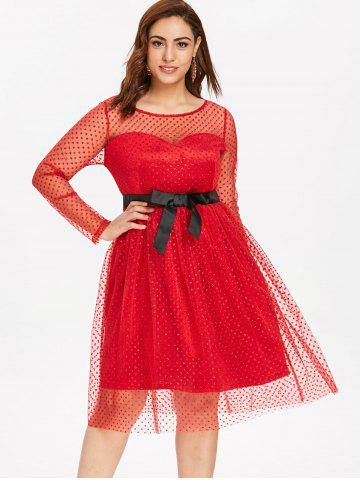 134e7236d5 Plus Size Dotted Mesh Fit and Flare Dress