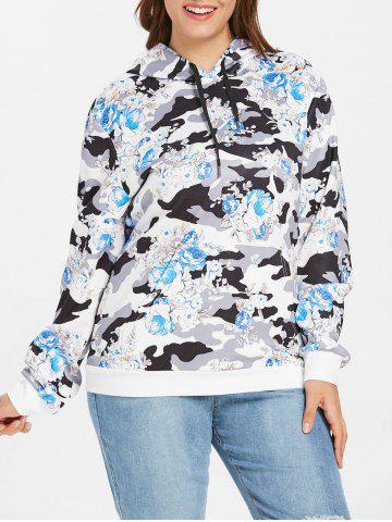 Camouflage | Floral | Hoody | Print | Plus | Size
