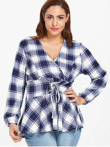 Plus Size Lace Up Plaid Surplice T-shirt