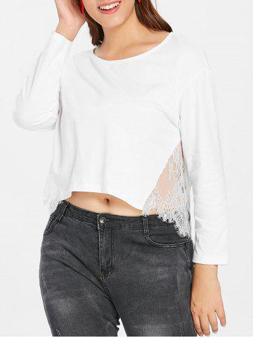 Plus Size Lace Panel High Low Top - WHITE - 1X