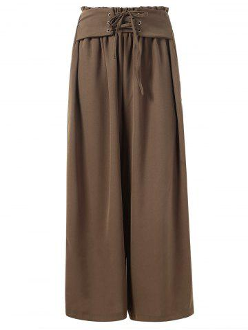 Ruffled Waist Wide Legged Pants with Lacing