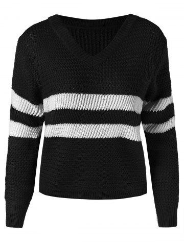 Contrast Sweater with V Neck