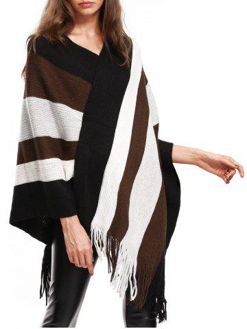 Color Block Fringed Cape Sweater