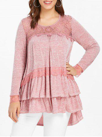 Plus Size Lace Panel Long Sleeve Tiered Top - PINK BOW - L