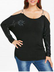 Halloween Plus Size Chain Embellished Floral T-shirt -