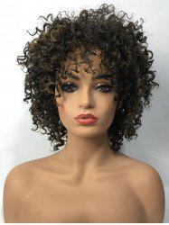 Short Side Bang Fluffy Kinky Curly Colormix Synthetic Wig -
