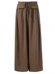 Ruffled Waist Wide Legged Pants with Lacing -