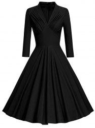 Plus Size Vintage Flare Dress with Pleated -