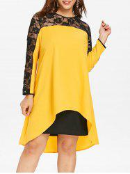 Plus Size Sheer Insert Asymmetrical Midi Dress -