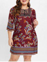 Plus Size Casual Ethnic Print Dress -