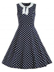 Bow Polka Dot Fit and Flare Vintage Dress -