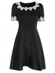 Crochet Flower Applique Fit and Flare Dress -