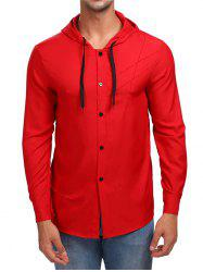 Solid Button Up Hooded Shirt -