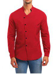 Solid Stand Collar Button Up Shirt -